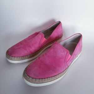 Tod's Pink Suede Espadrille Sneakers